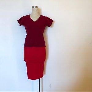 Ellen Tracy - Red Merino Wool Short Sleeve Top
